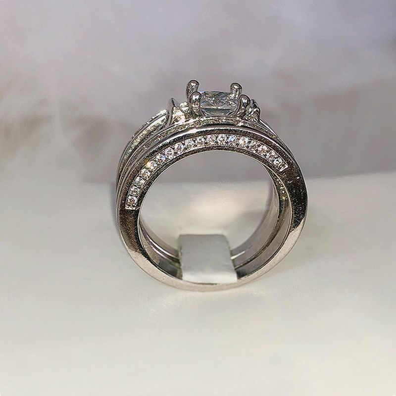 925anillos de boda anillo de compromiso para damas europeas de plata Diamante de lujo Retro TV Star Ring anillos de diamantes para mujeres