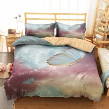 Bedcover and Pillowcases Soft Material Duvet Cover 3d Butterfly Printed Home Textiles King Queen Single Size Bed Linens
