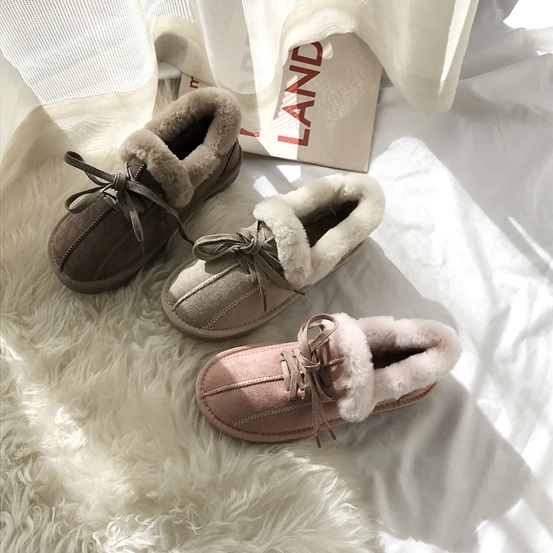 2019 New Arrival Winter Boot Pink Solid Color Fashion Casual Fur Warm Comfortable High Quality Fashion Women Winter Shoes 46