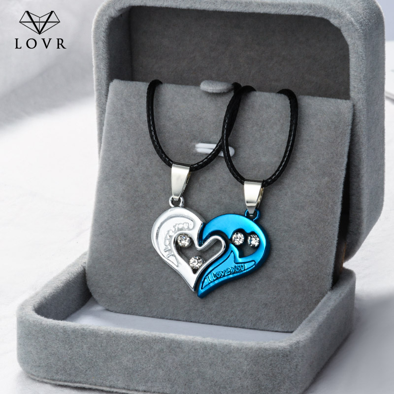 LOVR 1 pair Fashion Couple Heart Shape I Love You Pendant Necklace Unisex Lovers Couples Jewelry Fashion Gift Accessories