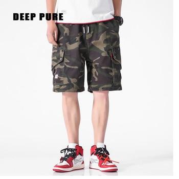 цена на men shorts cargo pants summer casual pants pocket knee length drawstring waist military shorts camo tactical