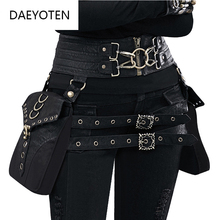 DAEYOTEN Brand Designer Women's Steampunk Backpack PU Leather Backpacks For Women Motorcycle Shoulder Waist Bags Gothic Daypack