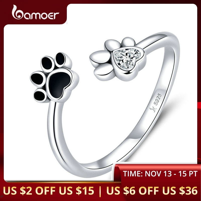 Bamoer Sterling Silver 925 Black Enamel Dog Paw Open Adjustable Finger Rings For Women Anti-allergy Jewelry Accessories SCR605