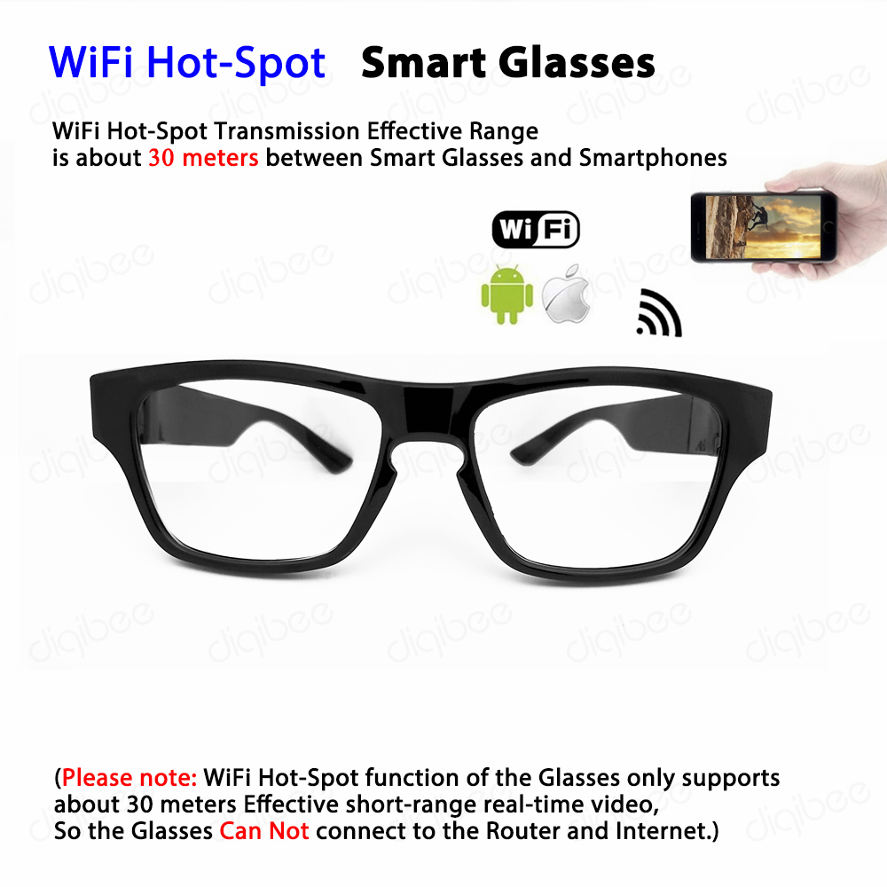 Unisex Fashion Intelligent Smart Glasses WiFi Hot-Spot Touch Design Taking Video for Outdoor Sports Drivers with iOS Android APP image