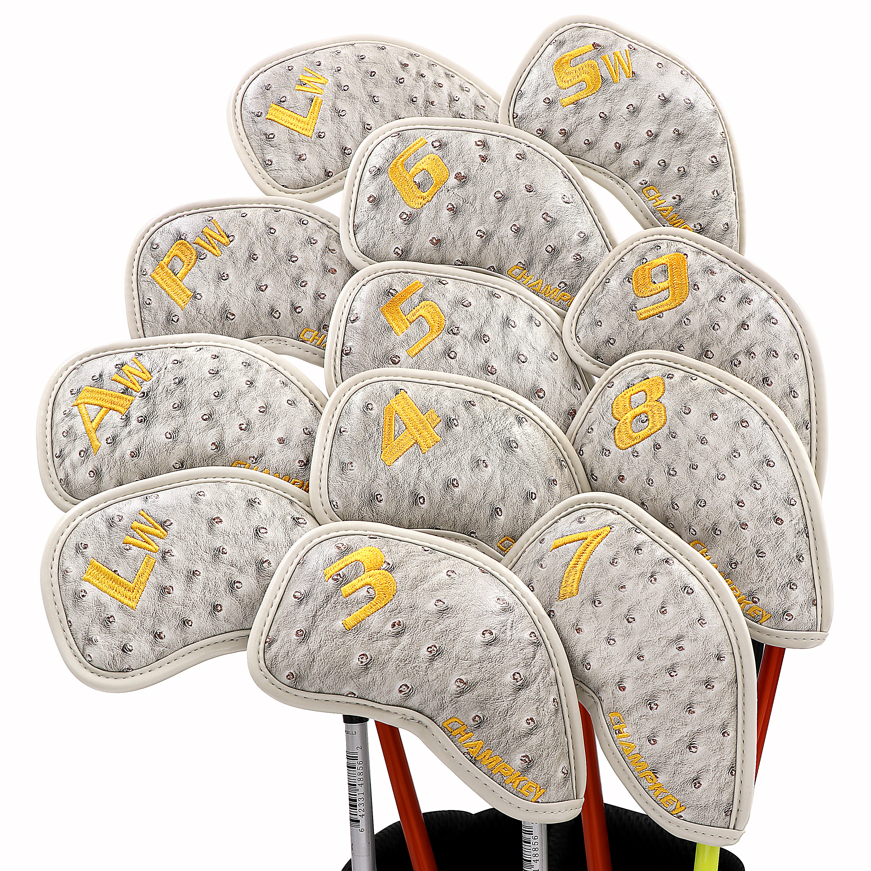 NEW Champkey 12pcs Golf Iron Cover Headcover Golf Iron Head Covers 3 Colors PU Leather With Breath Holes Golf Club Iron Covers