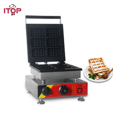 Купить с кэшбэком ITOP Commercial Electric Waffle Maker With 0-5 Mins Timer, 1500W Cake Desserts Bakery Waffle Iron Oven Machine 110V 220V