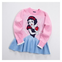 Girl Sweater Snow White Princess Dress Cartoon Pattern Long Sleeve Christmas Knitted