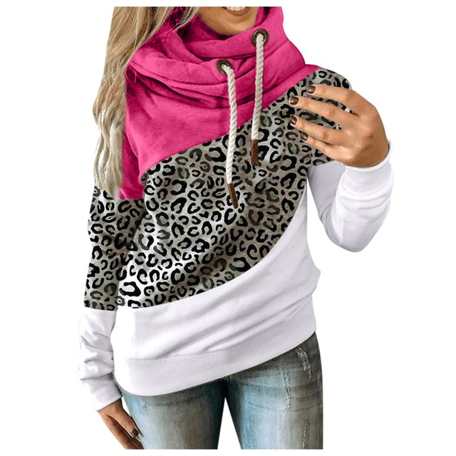 Hot Sale Women Casual Solid Contrast Long Sleeve Hoodie Sweatshirt Patchwork Printed Tops Sudaderas Mujer 2020 F Fast Ship 4