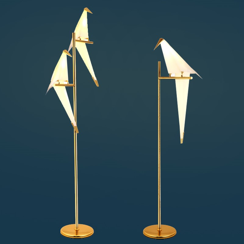Modern Paper Birds Floor Lamp Led Standing Lamp Kids Study Gold Desk Floor Lamp Fixtures Free Standing Lamps For Living Room