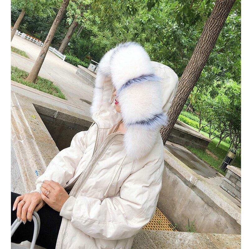 MS.Minshu Fox Fur Collar Parka Coat Collar Genuine Fox Fur Big Collar Fluffy Fox Fur Hood Collar