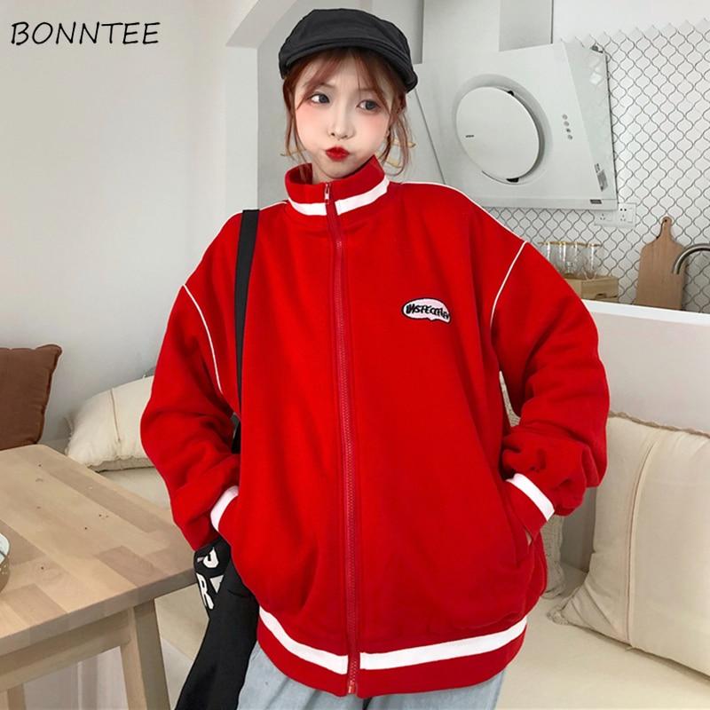Hoodies Women Ulzzang Simple Streetwear High Quality 2020 Korean Style Loose Plus Velvet Zipper Womens Sweatshirts Chic Casual