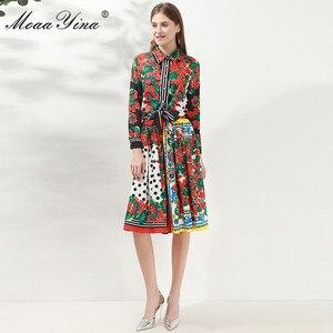 Image 5 - Модный дизайнерский комплект moaayina, Весенняя женская рубашка с длинным рукавом и цветочным принтом, Топы + юбка, элегантный праздничный комплект из двух предметов