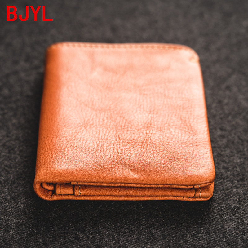 2020 Short Wallet Men's Small Purse Ultra-thin Youth Soft Leather Card Holder Mini Wallet Men Cowhide Vertical Two-fold Wallets