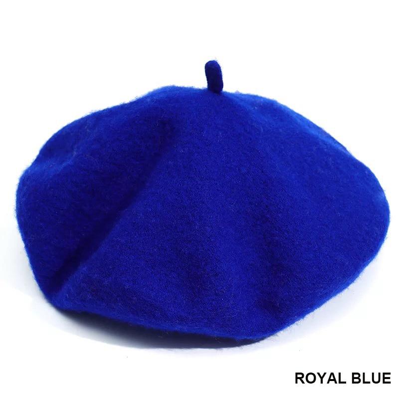 Французский стиль, однотонная Повседневная винтажная женская шапка, берет, простая шапка, для девушек, шерсть, Теплые Зимние береты, шапки бини, Femme Aldult cap s - Цвет: Royal blue