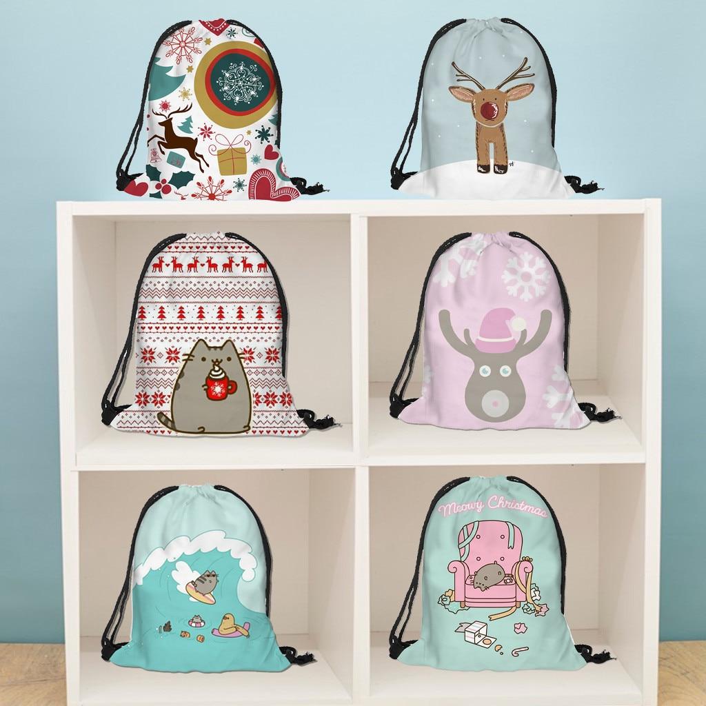 Drawstring Bag Flower Printed Backpack Bag Cotton Backpack Drawstring Bag Girls Storage Bag Bag For Kids Plush Toys Storage