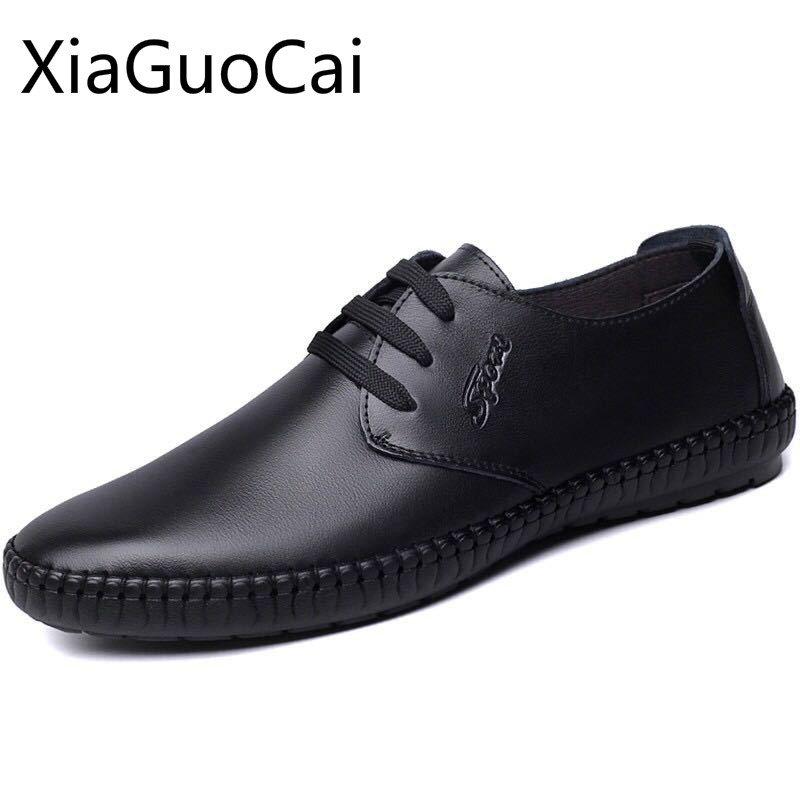 High Quality Mens Black Leather Shoes Round Toe Rubber Mens Dress Shoes Job Lace Up Mens Working Shoes