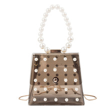 New 2019 women's shoulder Little bread bag cross-body transparent bag ins pearl chain PU handbag цена