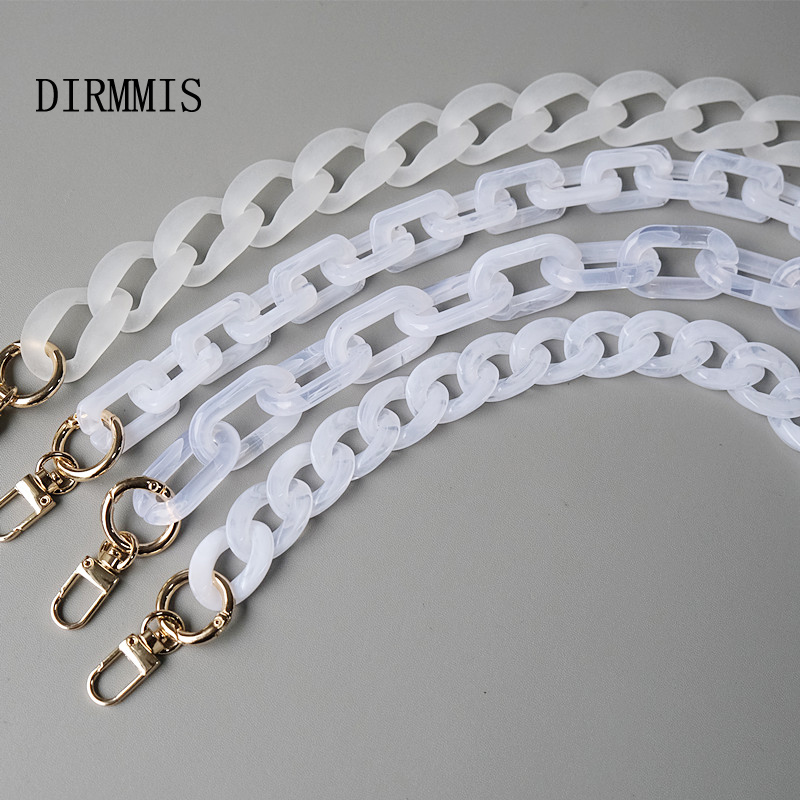 New Fashion Woman Handbag Accessory Chain Detachable Replacement White Transparent Strap Women Shoulder DIY Resin Bag Cute Chain