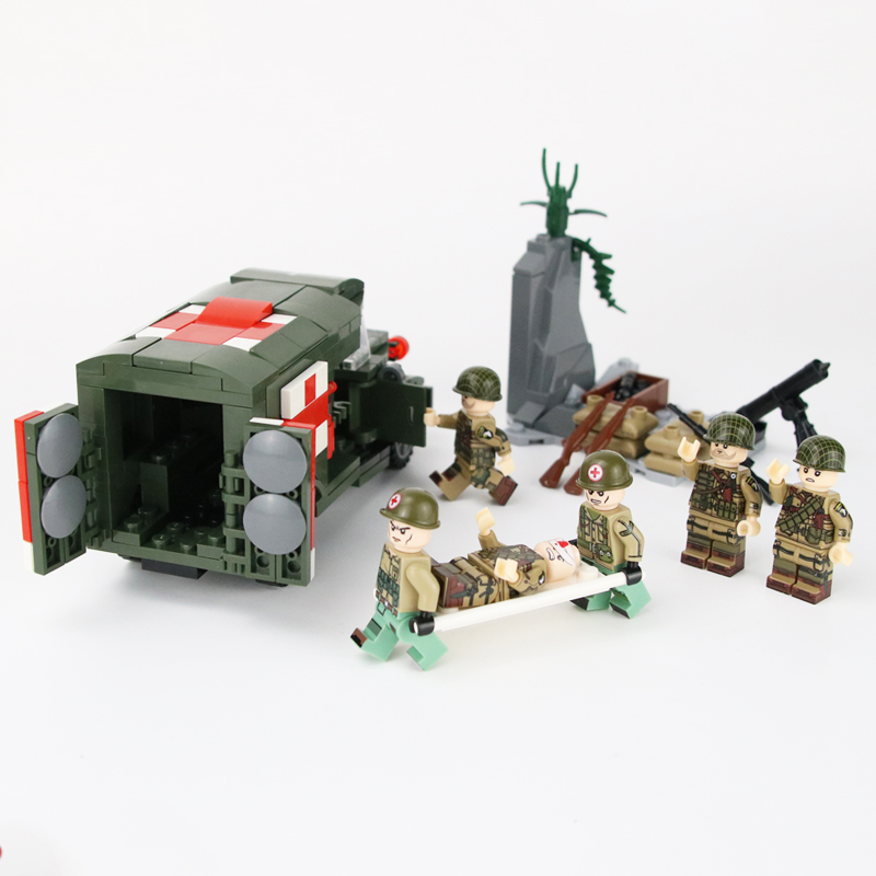 WW2 USA Military Army Ambulance Building Blocks US Army Rescue Soldiers Figures Weapons Accessories Building Blocks Bricks Toys