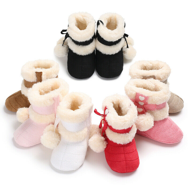 Baby Girls Winter Long Snow Boots Infant Round Toe Plush Booties Crib Shoes