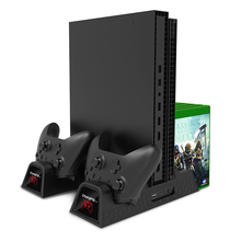 cooling vertical stand dual controller charger for xbox one s x console games card storage charging docking station for xbox one Dual Controller Charging Dock Station For Xbox ONE S X Cooling Fan Vertical Stand Games Storage Charger for Xbox ONE/S/X Console