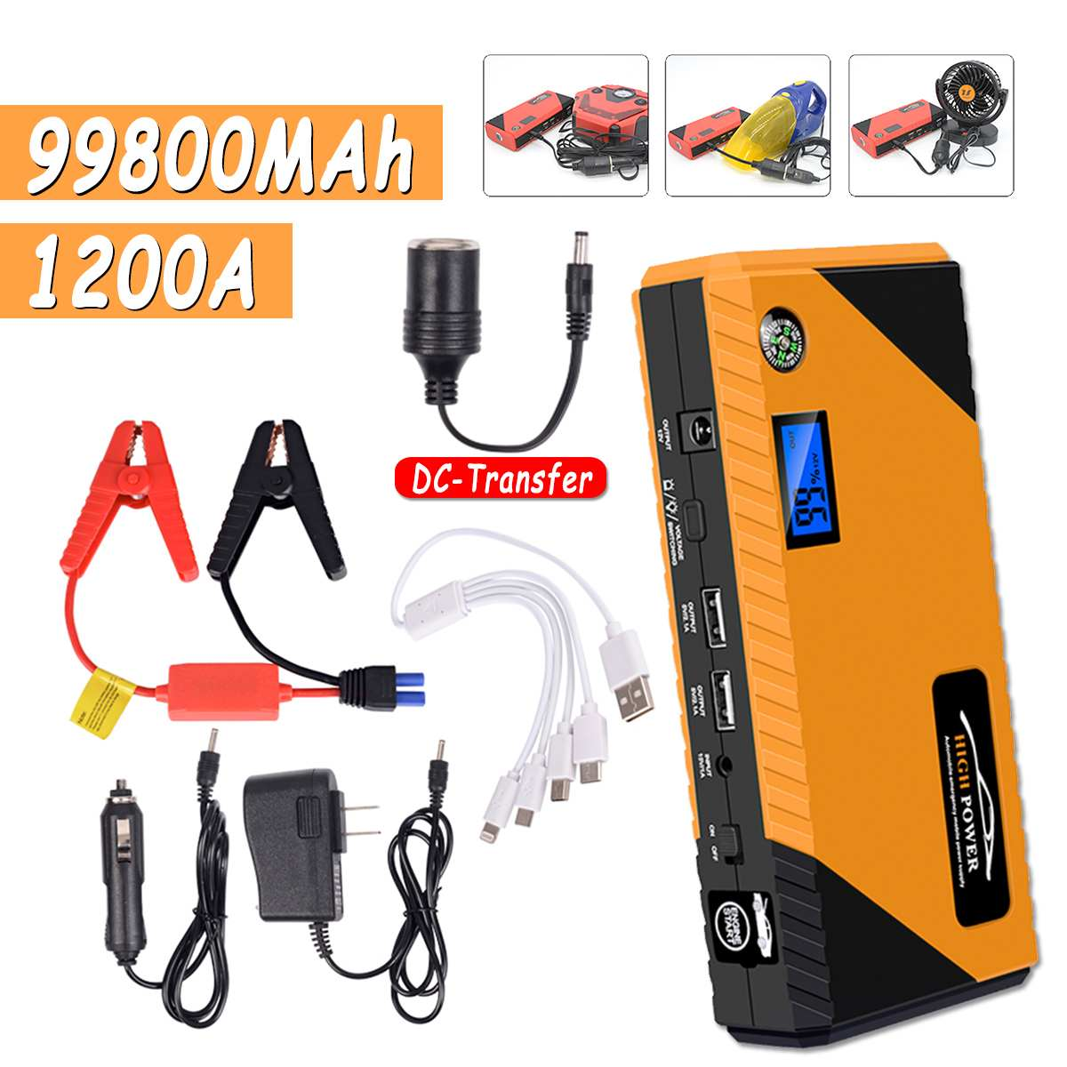 Dual USB Portable Car Jump Starter Pack Booster Charger Battery Power Bank 99800mAh LED Flash Light Starting Device Car Battery