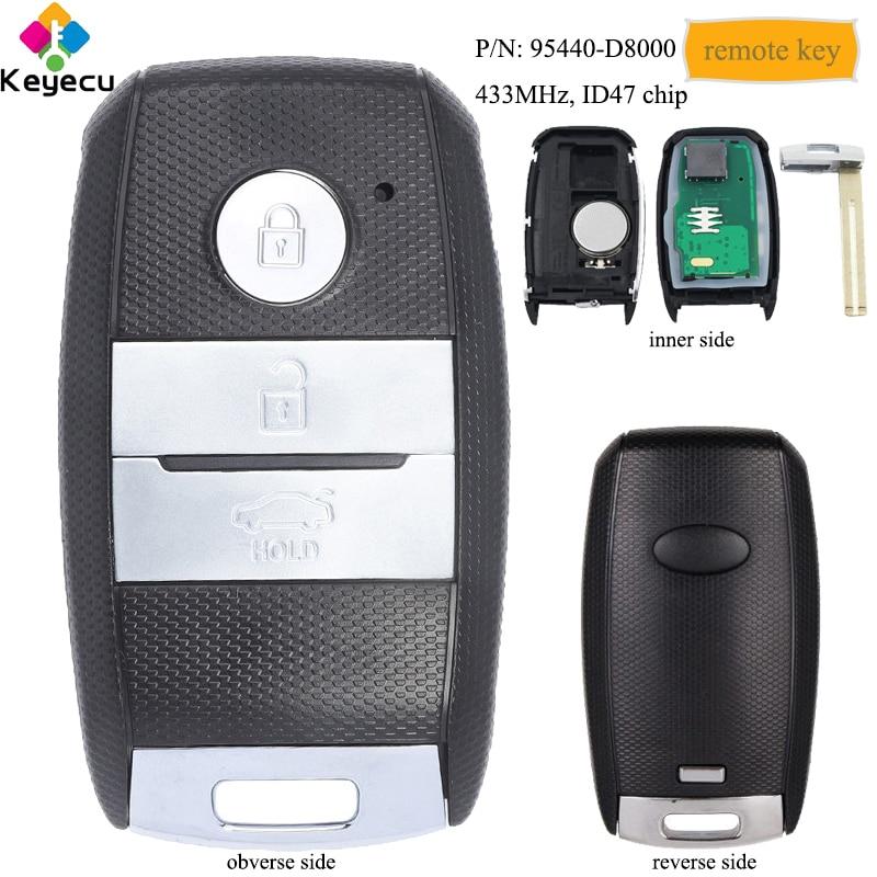 KEYECU Замена подлинного дистанционного ключа автомобиля с 3 кнопками и 433 МГц и ID47 чип FOB для Kia KX3 2015 2016 2017 P/N: 95440 D8000