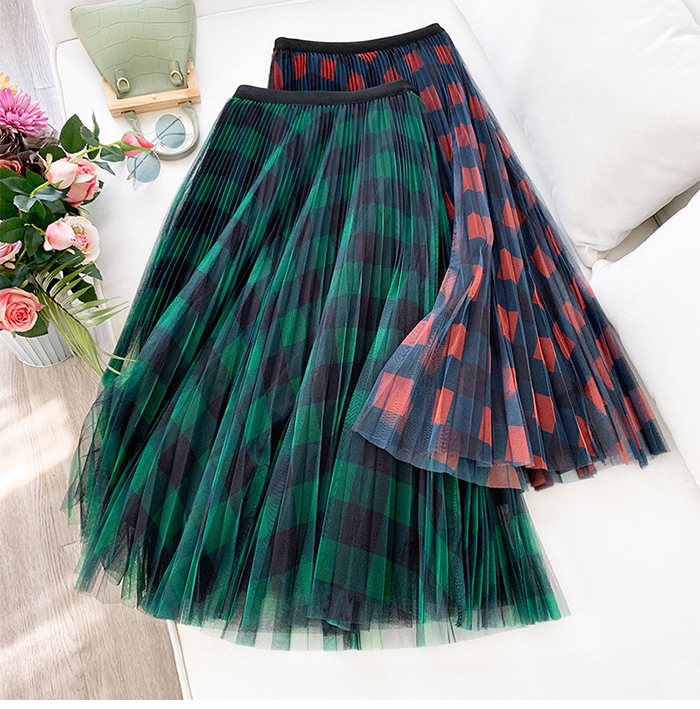 H8ae0a64c1dd343e589d7e017e5e15c30F - TIGENA Green Red Long Plaid Tutu Tulle Skirt Women Fashion New Elegant A Line High Waist Pleated Maxi Skirt Female Ladies