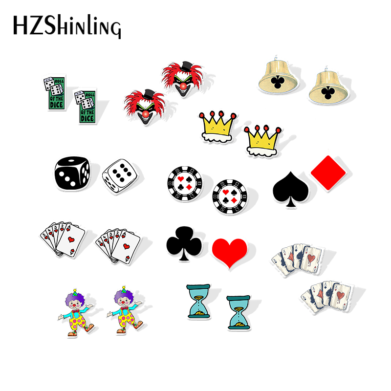 2019 New Funny Poker Cards Acrylic Earring Dice Clown Art Resin Earrings Fashion Epoxy Shrink Dinks Earring