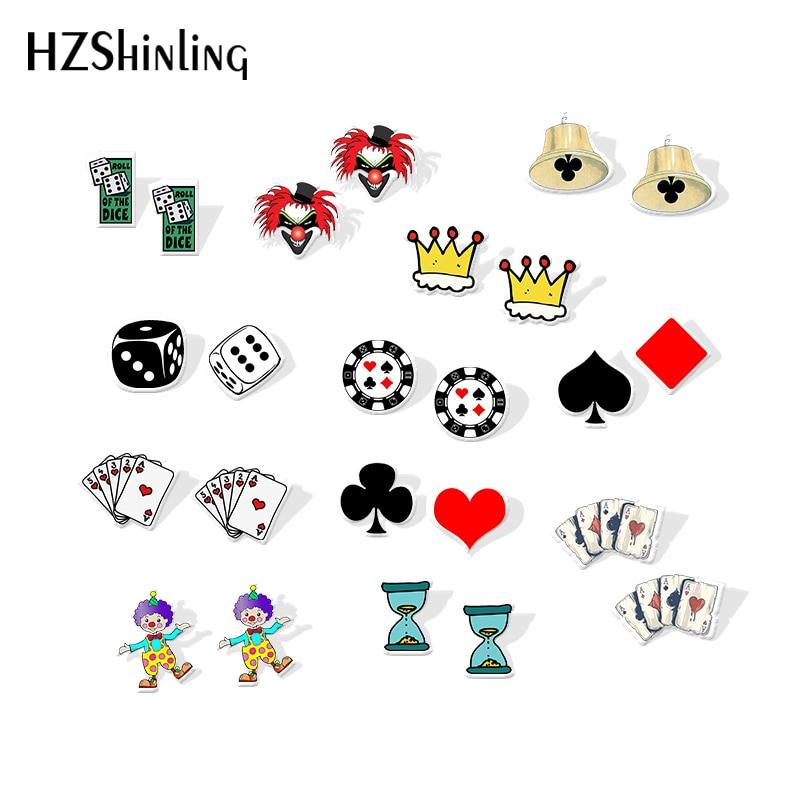2019 New Funny Poker Cards Acrylic Earring Dice Clown Art Resin Earrings Fashion Epoxy Shrink Dinks Earring