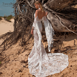 Image 4 - Robe De mariée en dentelle transparente, robe De mariée transparente, Style Hippie, manches longues, modèle symphonique, DW227