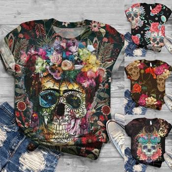 2020 T-Shirt Plus Size Women Short Sleeve 3D Skull Printed O-Neck Tops Tee Tee Shirt Blusas Mujer