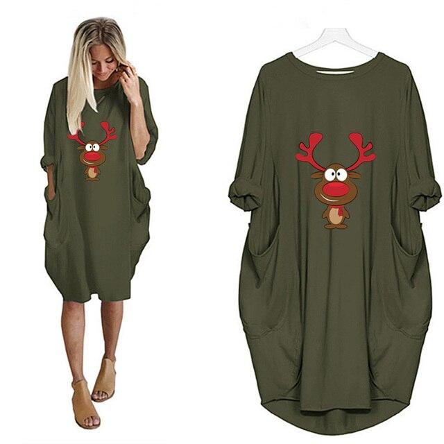 Купить женское винтажное платье миди с принтом оленей и карманами картинки цена