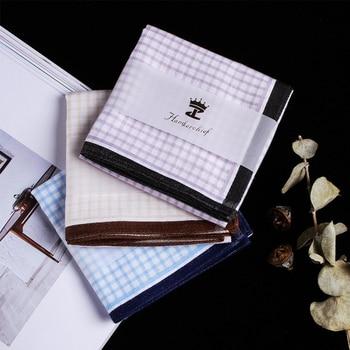 100% Cotton Men Square Plaid Sweat Handkerchiefs Men's Classic Lattice Pattern Vintage Pocket Hanky Hand Towel 3 Colors