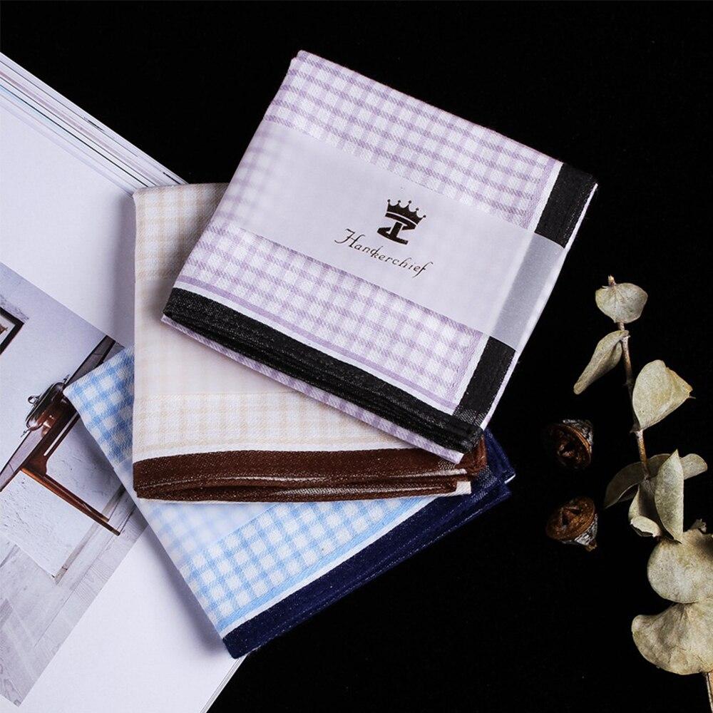3 Colors Men Square Plaid 100% Cotton Sweat Handkerchiefs Men's Classic Lattice Pattern Vintage Pocket Hanky Hand Towel
