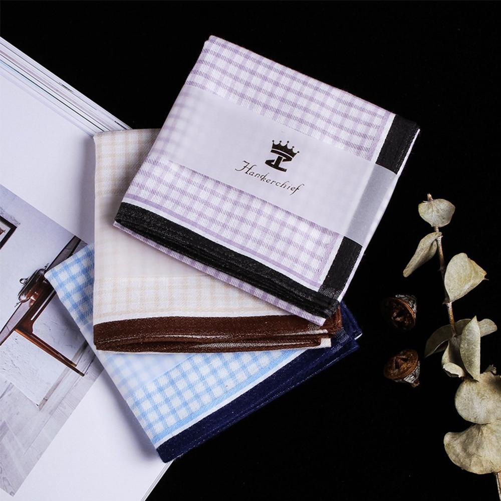 Cotton Men Square Plaid Gentle Handkerchiefs Men's Classic Lattice Pattern Vintage Pocket Hanky Hand Towel 3 Colors