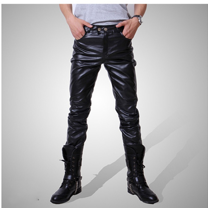 2019 Men Skinny Faux Leather Leisure Pants Black Gold Silver Pu Pencil Pants Singers Club Performance On Stage Dancer Jeans Plus