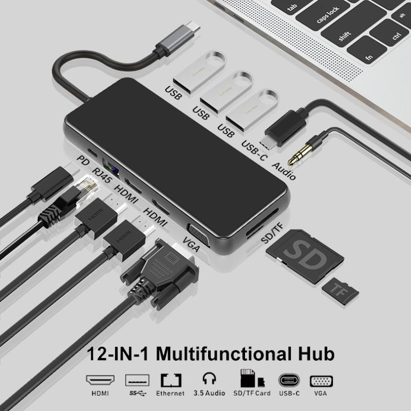 12 in1 USB 3.0 C Hub Dock for Macbook Pro SD TF Card Readers Dual PD Multi USB Hub Type C Adapter Splitter Type-C Hub for Laptop