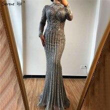 Muzułmańskie szare luksusowe długie rękawy suknie wieczorowe 2019 syrenka diamentowa cekinowa świecąca suknia wieczorowa Serene Hill DLA70199