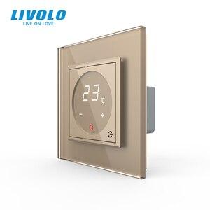Image 4 - Livolo inteligentny termostat Standard ue regulacja temperatury, termostat do ogrzewania podłogowego, 4 kolory Panel ze szkła kryształowego, AC 110 250V