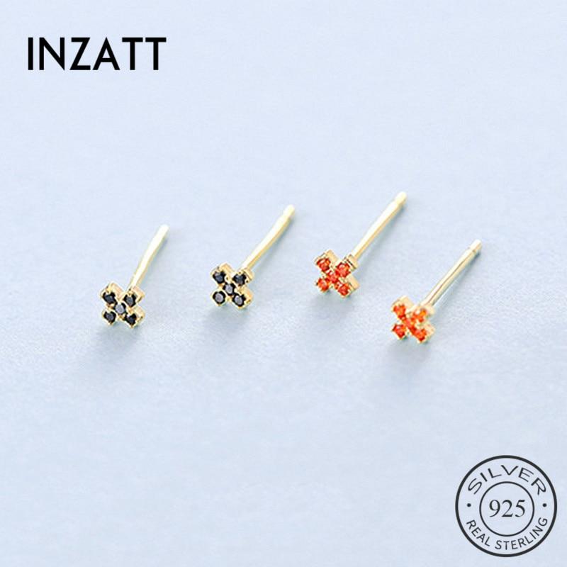 INZATT Real 925 Sterling Silver Zircon Flower Cross Stud Earrings For Fashion Women Minimalist Fine Jewelry Ins Hot Accessories