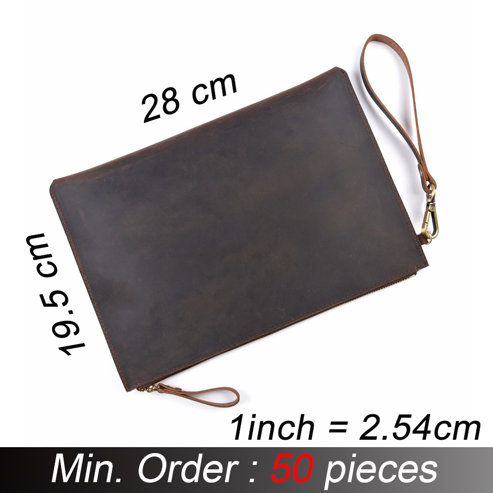 50 Pieces/ Lot Genuine Leather Men File Briefcase Crazy Horse Leather Business Retro Style Document Portfolio Filing Bag