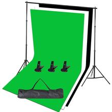 Zuochen Fotostudio Zwart Wit Groene Achtergrond Chroma Key Screen 2M Achtergrond Stand Kit Voor Indoor Fotografie Portret Video