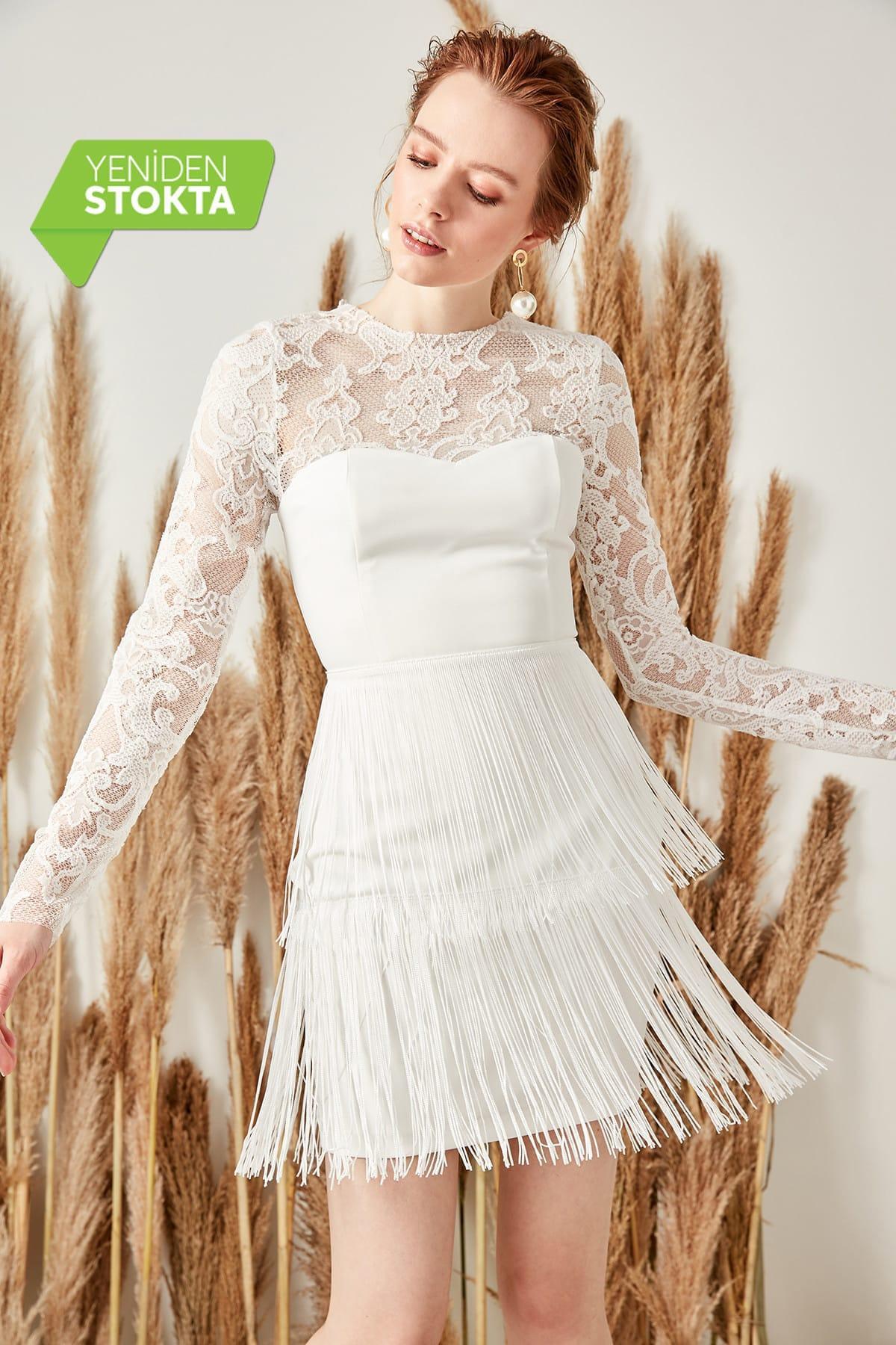 Trendyol White Tassel Detail Dress TPRSS19FZ0191()