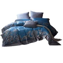white and red embroidered egyptian cotton house de couette and pillow cases bedding set duvet cover Brand hometextile Luxury blue Egyptian cotton bedding set king duvet cover and pillow cases