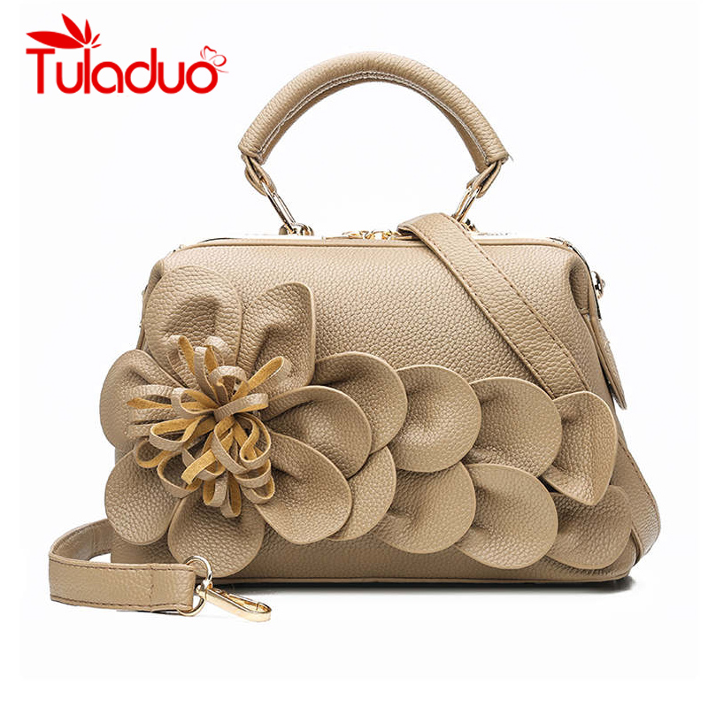 Women Handbag PU Leather Tote Bag Retro Flower Vintage Shoulder Messenger Bags Shopping Bag Ladies Hand Bags Femme Sac A Main in Top Handle Bags from Luggage Bags