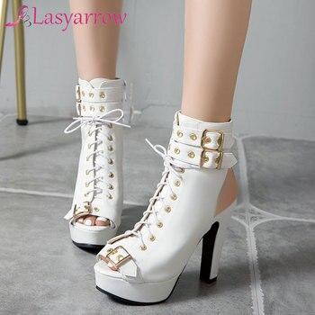 Lasyarrow Women Ankle Boots Open Peep Toe Shoes Thin High Heels Shoes Buckle Platform Short Boots Cross Tied Footwear Size 46
