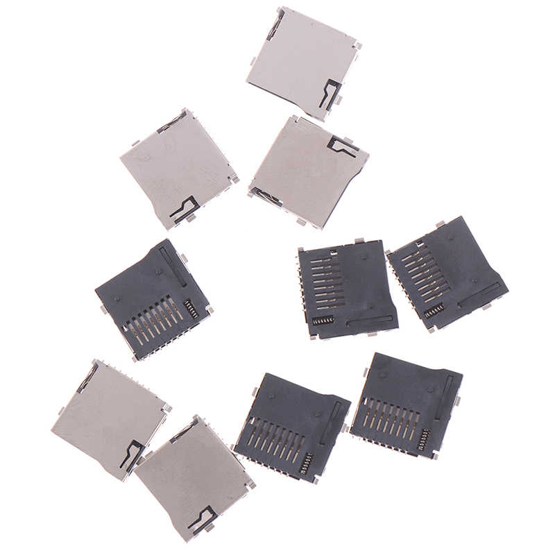 10pcs Push-Push Type TransFlash TF Micro SD Card Socket Adapter Automatic PCB Connector