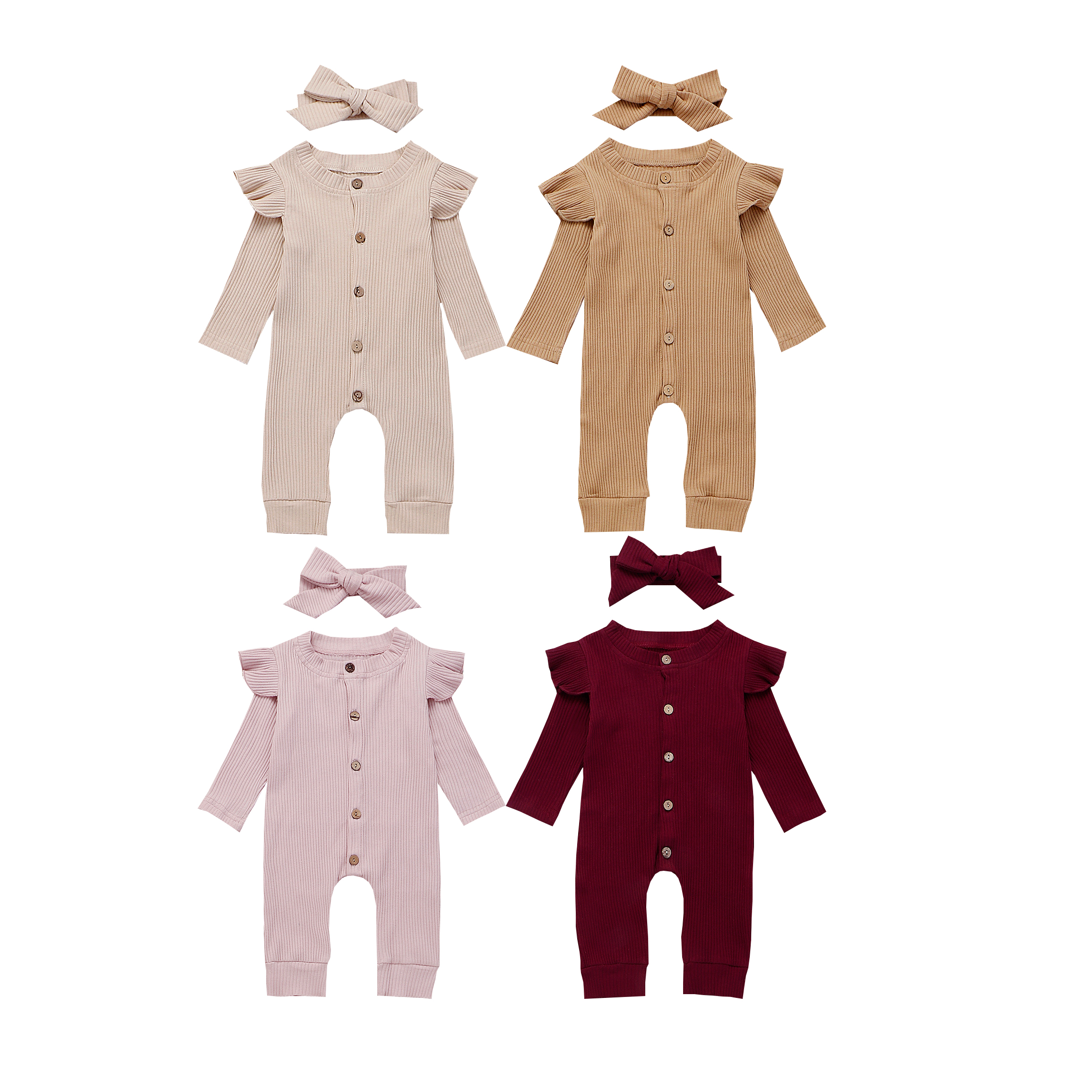 2PCS Newborn Baby Girl Boy Rompers Autumn Striped Clothes Knitted Cotton Long Flying Sleeve Jumpsuit Bow Solid Headband Outfits