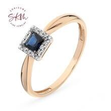 Skm классическое сапфировое кольцо с бриллиантом 14k 18k розовое